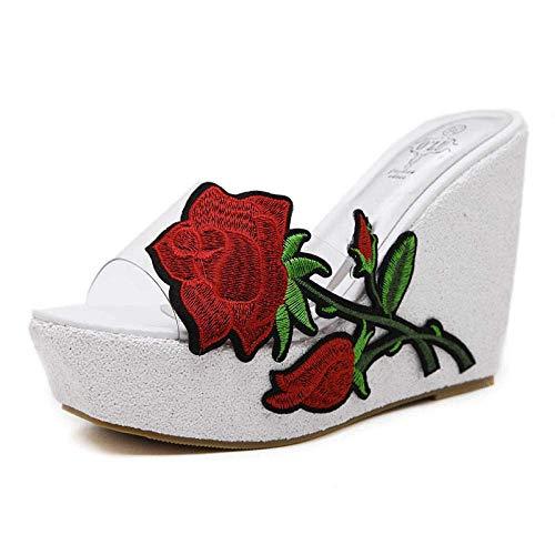 LIUCHANG Flip Flop cuñas de Flores, Bordados con Lentejuelas Sandalias de Las Mujeres Transparentes y Zapatillas, Zapatos-White_36 Agua de la Piscina liuchang20