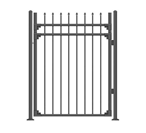 XCEL - Black Steel Anti-Rust Fence Gate - Sharp End Pickets - 4ft W x 5ft H - Easy Installation Kit, for Residential, Outdoor, Yard, Patio, Entry Way, 3-Rail Metal Gate
