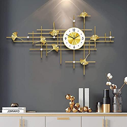 Reloj de Pared Relojes de Pared de Metal Moderno Tamaño 100Cm, Art 3D Diamond Ginkgo Leaf Reloj Colgante de Pared Reloj de Pared de Estilo Europeo para Sala de Estar Arte Moderno Decor del hogar