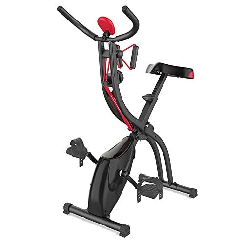 VITALmaxx Heimtrainer Fitness Bike mit magnetischer Bremse und Expanderbändern   Effektives Ganzkörpertraining, Trainingscomputer mit Display   Sichere, robuste Konstruktion, bequemer Gelsattel
