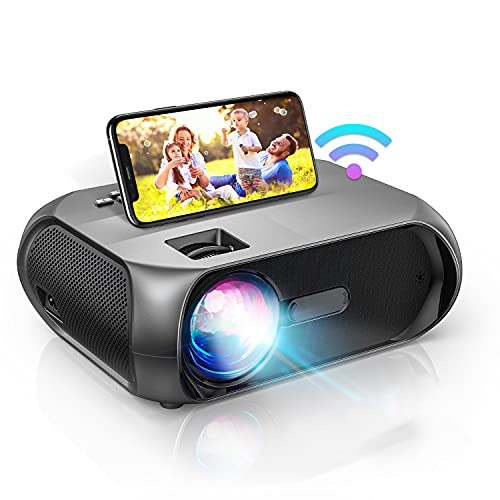 Proyector WiFi, Full HD Soporta 1080P Proyector Portátil, 6500 Lúmenes Proyector LED, 300' Pantalla Mini Proyector Inalámbrico Cine en Casa para iPhone, Android, PS5
