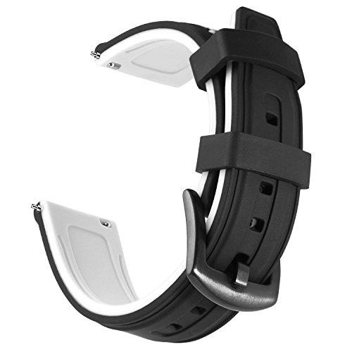 OLLREARUnisexSilikonUhrenarmbänder Gebürstete Edelstahl Schwarz Schnalle (20mm, Weiß)