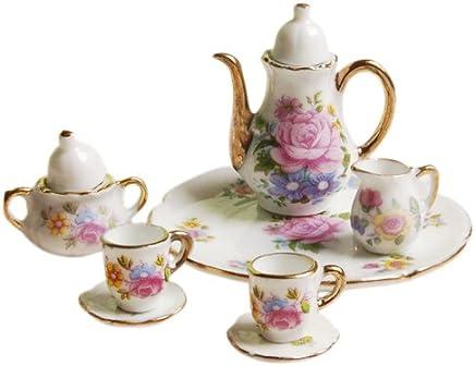 Preisvergleich für 8 Stück Miniatur Puppenhaus Ess Geschirr Porzellan Tee Set Teller Tasse Teller rosa Rose