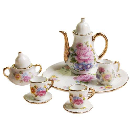 8 Stück Miniatur Puppenhaus ESS Geschirr Porzellan Tee Set Teller Tasse Teller rosa Rose