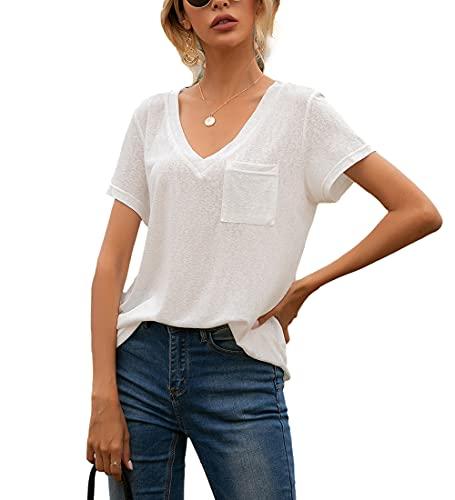 Camisa Mujer Cómoda Casual Suelta Moda Cuello En V Manga Corta Verano Color Sólido Dulce Citas Clásico All-Match Elegante Mujer Top Mujer Blusa B-White XL