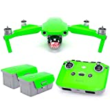 Wrapgrade Skin Set of Main Unit + Remote Controller + 2 Batteries Compatible with DJI Mavic Air 2 (Neon Green)