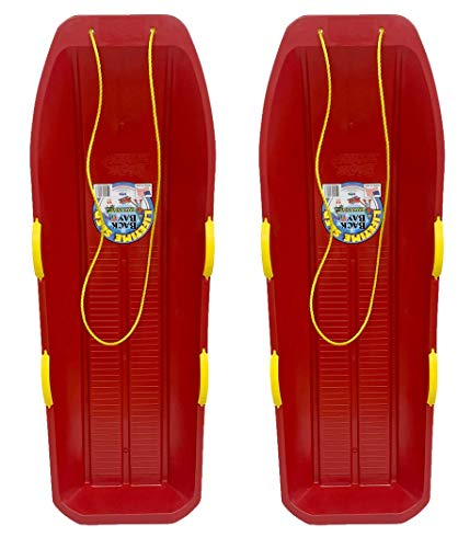 Back Bay Play Lifetime Snow Sled Two-Rider Downhill Outdoor 2 Packs - Toboggan for Kids and Adults -Durable Sleds for Winter Sledding - Ages 5 and Up- Made in USA (Cherry Red 2 Pack)