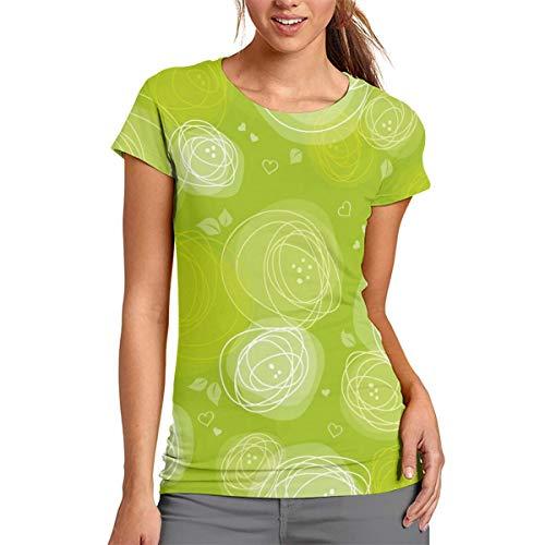 Camiseta de manga corta con diseño de rayas verdes Amd Heart para mujer, poliéster, Blanco, Small