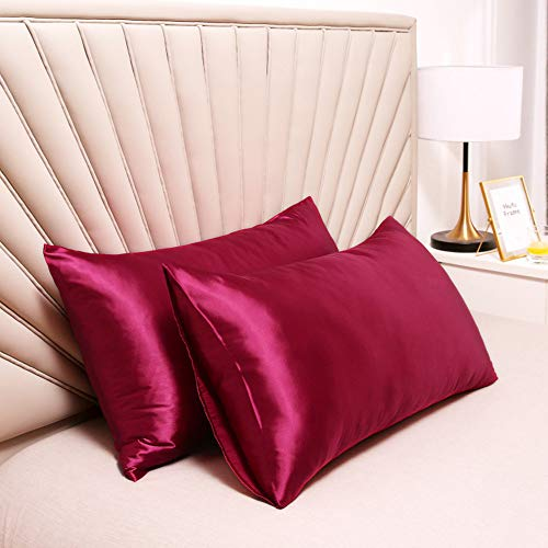 """Silky Satin Pillowcase for Hair and Skin Slip Pillow Cases Set of 2 - Satin Cooling Pillow Covers with Envelope Closure (Burgundy, Queen(20""""x30""""))"""