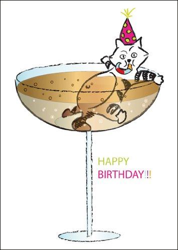 Kaarten Kaufrausch in 5-delige set: Grappige verjaardagswenskaart/verjaardagskaart met in champagne badende kat: Happy Birthday!! !