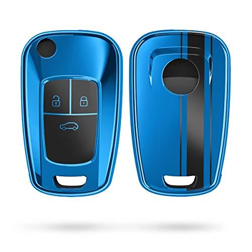 kwmobile Autoschlüssel Hülle kompatibel mit Opel 3-Tasten Klapp Autoschlüssel - TPU Schlüsselhülle Cover Rallystreifen Sidelines Schwarz Hochglanz Blau