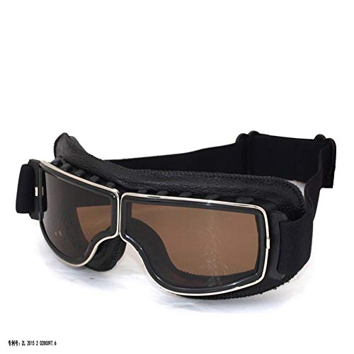 DIDIOI Motorradbrille, Off-Road Riding Glasses Retro Leder Brille Anti-Sand-Personality-Gläser Anti-Fall,2