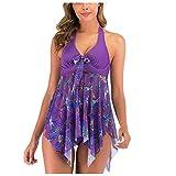 LHWY Bañador Mujer Traje de baño Push Up Cintura Alta Sexy Tankini de Dos Piezas Braguita + Vestido Set(Púrpura L)
