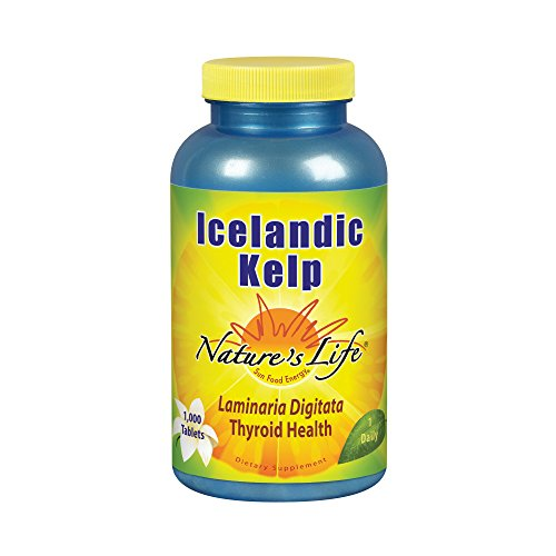 Nature's Life Icelandic Kelp 41 mg Tablets | Thyroid Support Supplement with Iodine | No Gluten, Non-GMO Green Superfood | 1000 Count