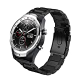 Aimtel Compatible with TicWatch Pro 3 Band/Pro 4G LTE/Pro 2020 Bands, 22mm Stainless Steel Wristband Metal Replacement Strap for Ticwatch Pro Series Smartwatch (Black)
