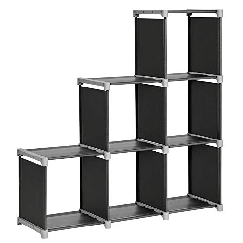 SONGMICS 6-Cube Storage Rack, Staircase Organizer, DIY Storage Shelf, Bookcase in Living Room,...