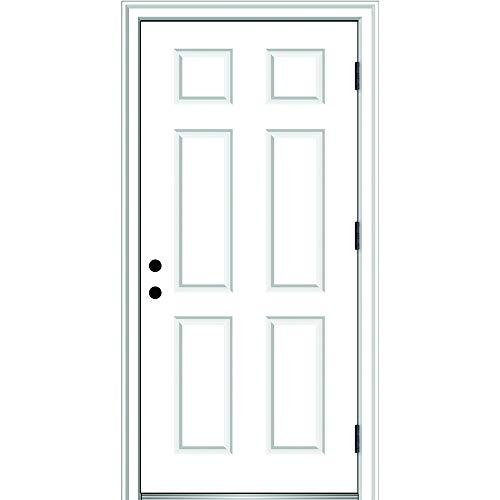 National Door Company ZZ364679L Fiberglass Smooth, Primed, Left Hand Outswing, Prehung Front Door, 6-Panel, 32'' x 80