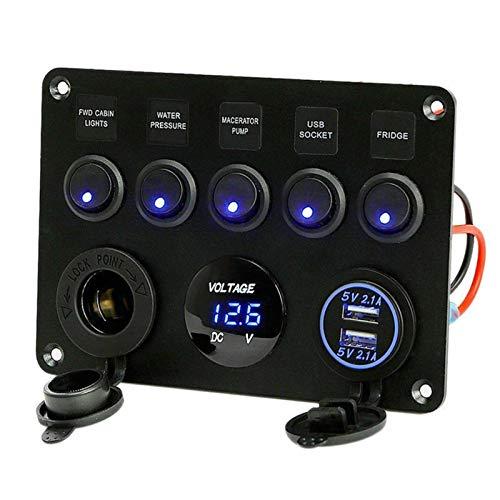 Artinest Interruptores y relés High Performance 5 Pand Gang 24V / 12V Caja de fusibles en línea Panel de interruptores LED Dual USB Coche Camioneta Camper Voltaje Digital Pantalla Azul/Verde Luz LED