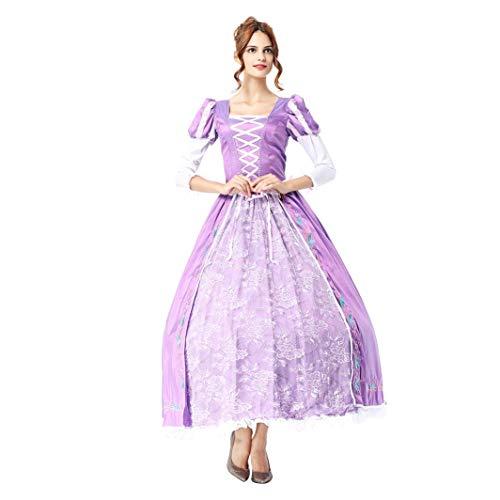 IMEKIS Damen Rapunzel Kleid Erwachsene Prinzessin Sofia Verkleiden Elegant Spitze Tüll Abendkleid Hochzeit Festlich Partykleid Märchen Halloween Weihnachten Karneval Cosplay Kostüm Lila M