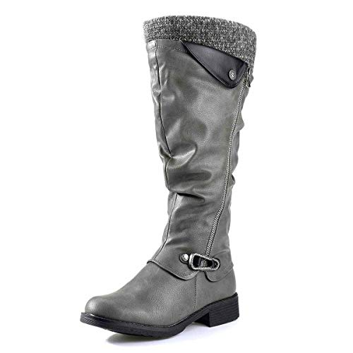 gracosy Leather Knee Boots, Women's Knee High Boot Flat Heel Zipper Buckle Riding Boots Grey 11 M US