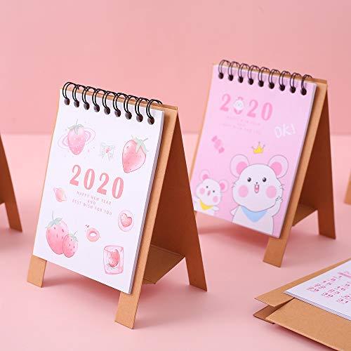 Kawaii 2020 Calendario Cute Animales Gato Unicornio Mini Calendario Escolar for Oficina Regalos for los niños Calendario de Escritorio 2020 (Color : 5)