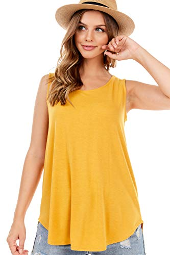 SHOP DORDOR 9052 Women's Soft Jersey Knit Scoop Neck Sleeveless Loose Tank Top Mustard M