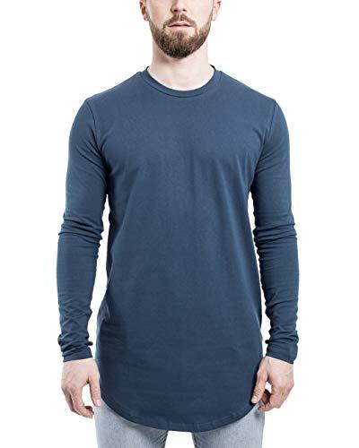 Blackskies Ronde Lange mouwen T-Shirt | Lange overmaat Fashion Basic met lange mouwen Heren lange shirt met lange thee - diverse kleuren