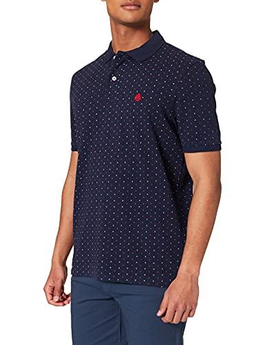 Springfield Polo Estampado All Over Camiseta, Azul Medio, L para Hombre