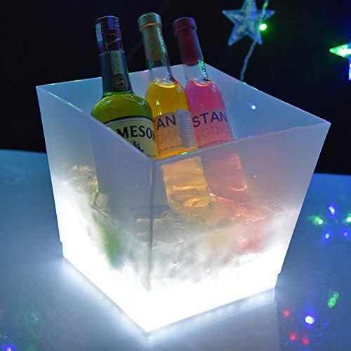 Cubo de Hielo Luminoso de 10L Cubo de Hielo de plástico Cuadrado LED Cubo de champán acrílico Cubo de Vino Recargable Cubo Enfriador de Cerveza para Fiesta en casa Bar KTV Club