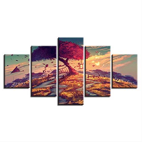 DGGDVP Hd Druck Decor Wohnzimmer Wandkunst 5 Stücke Drachen Roten Baum Sonnenuntergang Landschaft Leinwand Malerei Modulare Bild Poster Größe 2 Mit Rahmen