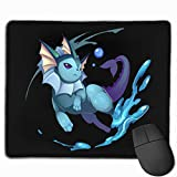 Water Eevee Vaporeon Mouse Pad Gaming Mouse Pad Non-Slip Neoprene Base with Stitched Edge Computer Pc Mousepad for Gaming/Keyboard/E-Sports