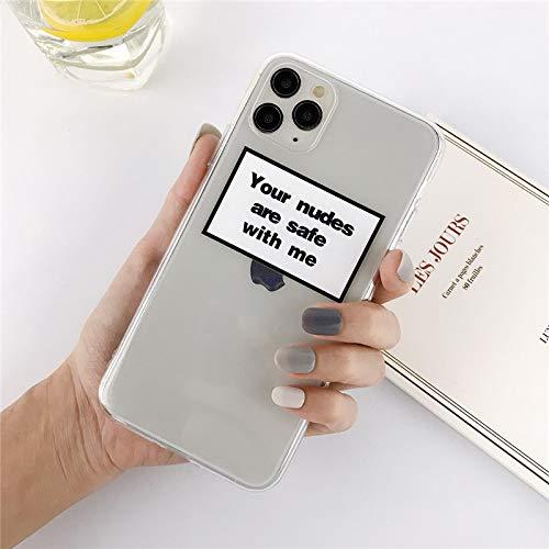 HNZZ Tmrtcgy Funda telefónica de la Etiqueta Transparente de Silicona para iPhone 12 Pro Mini 11 Pro MAX X XR XS MAX 7 8 Plus TPU Suave de TPU (Color : 9, Size : IphoneXS MAX)