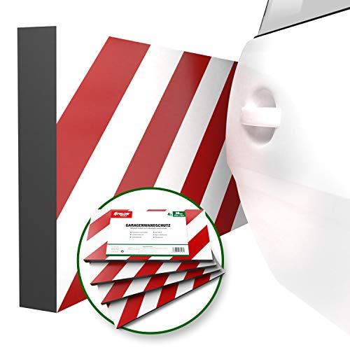ATHLON TOOLS 4x MaxProtect Premium Garagen-Wandschutz selbstklebend | je 40 x 20 x 2,0 cm |Rammschutz Prallschutz Garagenpolster Türkantenschutz (Rot/Weiß |reflektierend)