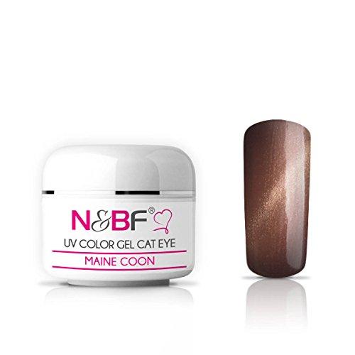 N&BF Cat Eye UV Farbgel 5ml   Maine Coon mittelviskos   Magnet Gel braun   Made in EU   UV Color-Gel mit Katzenaugen Effekt   Nagelgel deckend   Colourgel für Gelnägel