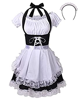 Colorful House Women s Anime Cosplay French Apron Maid Fancy Dress Costume  Medium Black Sexy