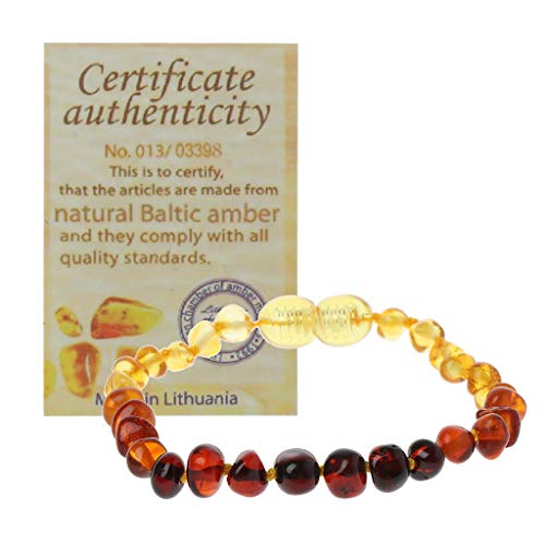 Yanni Genuine Baltic Amber Teething Bracelet Raw and Anklet Baby Beads for Teethers
