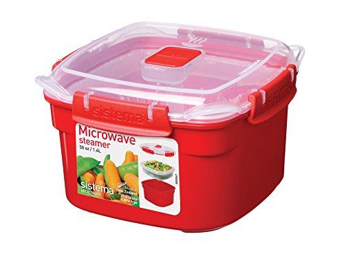 Sistema Cuocivapore Polipropilene microonde Quadrato 1.4 Utensili da Cucina, Red
