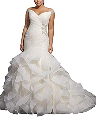 APXPF Women's Cap Sleeves Beaded Pleats Mermaid Wedding Dresses Organza Bridal Gown Plus Size
