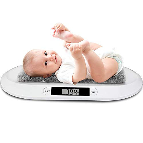 WIPYI2018 Baby Elektronische Waage Off White, Digitale Babywaage Kinderwaage bis 20kg LED-Anzeige Abschalt-Tarierfunktion Säuglingswaage Stillwaage Tierwaage