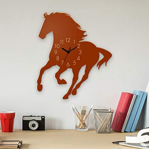 Yourlivingart Wanduhr Mustang-Braun, Pferd aus Holz, Kinderuhr, Uhr für Kinderzimmer