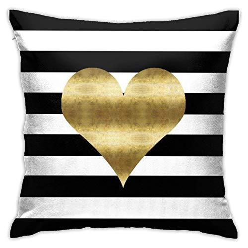 Funda de almohada decorativa con diseño de corazón dorado con rayas blancas y negras de 45,7 x 45,7 cm