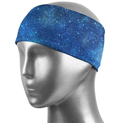 Galaxy Space - Diademas deportivas de color azul, banda atlética, bandas de entrenamiento para correr, entrenamiento cruzado, yoga, bicicleta, apto para casco