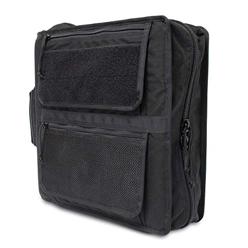Tactical 3-Ring Binder Cover System Fits 1.5-2 Inch Binders Customize with Add-ons! (Black)