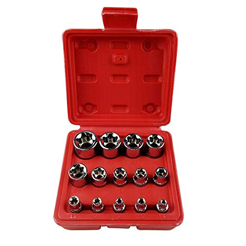 Juego de 14 llaves de tubo de acero Torx E Star Reparación larga duración doméstica métrica portátil Bit combinación E4-E24 herramientas