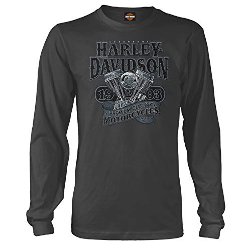 Harley-Davidson Military - Men's Long-Sleeve Graphic T-Shirt - Overseas Tour | Big V-Twin XL, Charcoal