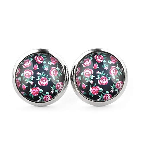 SCHMUCKZUCKER Damen Ohrstecker Vintage Rosen Edelstahl Ohrringe silber-farben schwarz 12mm