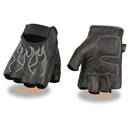 Milwaukee Leather SH198 Men's Black and Grey Leather Flamed Embroidered Fingerless Gloves - 3X-Large