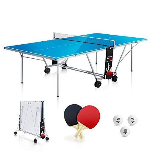 YM Tavolo Ping Pong Esterno Pieghevole Outdoor Tornado - Dimensioni Ufficiali da Torneo 274 x 152,50 x 76 cm - Route per Trasporto - Racchette e Palline Omaggio Incluse - Sistema Twin Multi Security