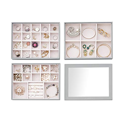 Vlando Stackable Jewelry Tray  Multipurpose Jewelry Accessories Display Storage and Organizer for Earring Necklace Bracelet Ring 3Layer w/Lid Small Grey