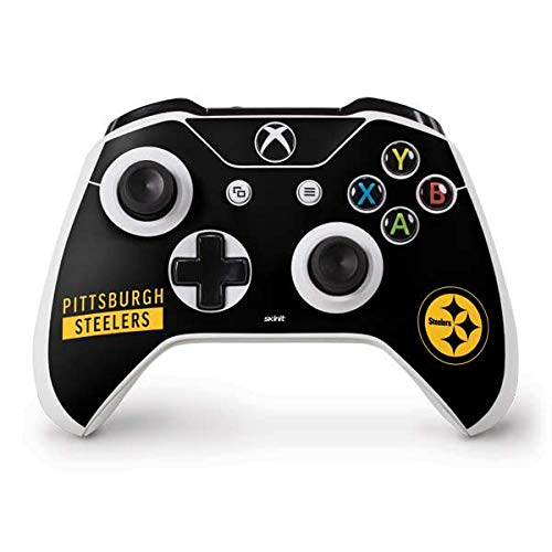 Skinit Decal Gaming Skin Compatible with Xbox One S Controller - Officially Licensed NFL Pittsburgh Steelers Black Performance Series Design